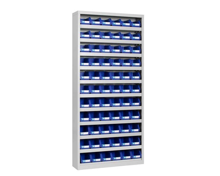 Bokseskap i stål med 66 bokser